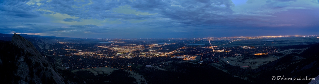 Night panorama of Boulder CO from the summit of the Third Flatiron