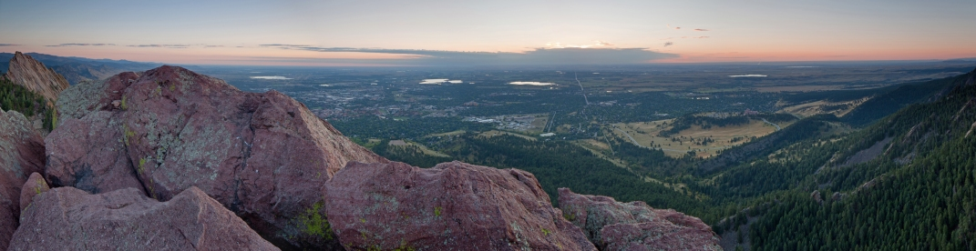 Boulder sunrise panorama from atop the Third Flatiron.