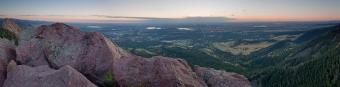 Boulder sunrise panorama from atop the Third Flatiron.