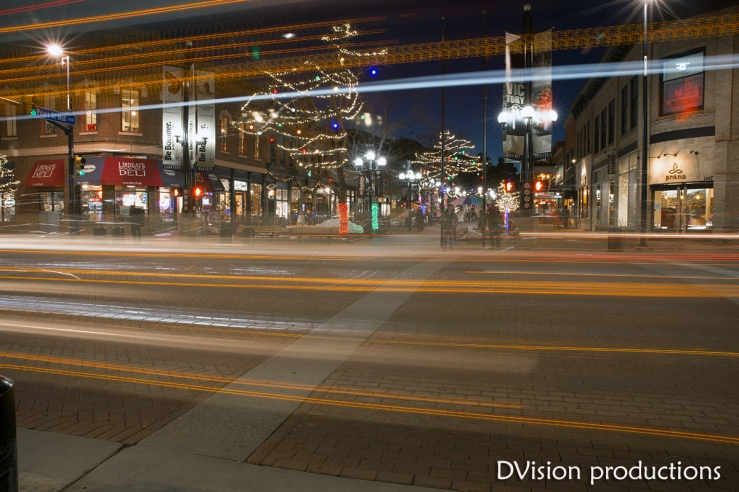 Pearl St. Mall at Broadway in the evening.