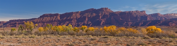 Fisher Towers UT panorama with fall colors.