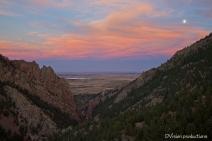 Sunset and moon rise, Eldorado Canyon CO.