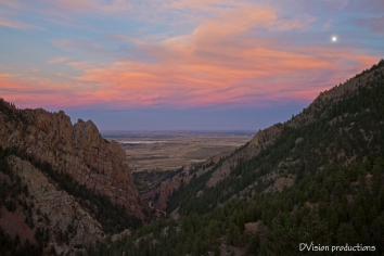 Sunset and moon rise, Eldorado Canyon CO.