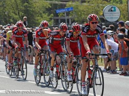 Team BMC on Broadway in Boulder. Pro Cycling Challenge 2012