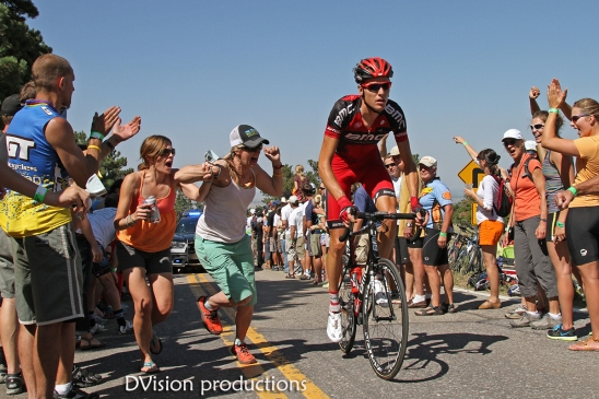 A team BMC rider on the Flagstaff hill climb. One of the stages in the 2012 Pro Cycling Challenge held in Colorado.