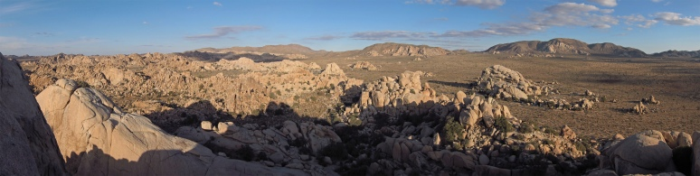 Panorama of Joshua Tree National Park from atop a large formation in Hidden Valley.