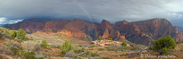 Panorama of the Kolob Canyons area of Zion National Park during a late fall storm.