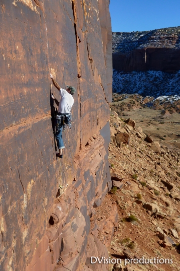 Crack climbing at the Cat Wall, Indian Creek UT